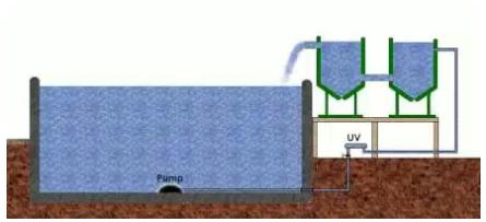 Desain pembuangan dan sistem filter dengan tandon pada kolam ikan koi, www.koilovers.com