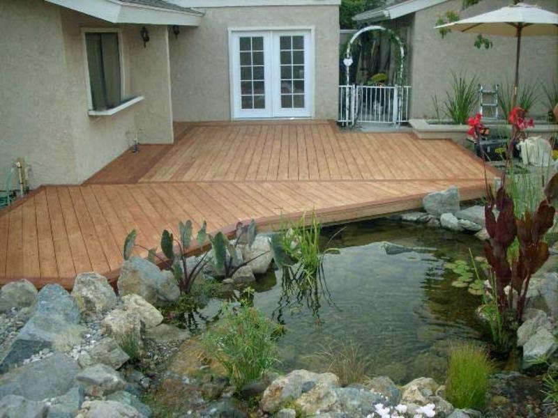 Gambar desain kolam ikan koi dangkal minimalis sederhana davinong com